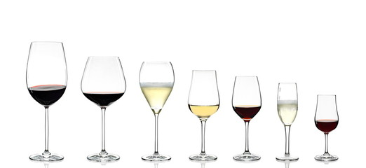Door stickers Wine wine glasses on white background