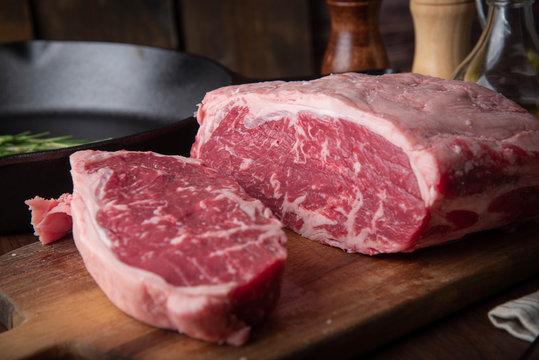 raw block meat of sirloin steak