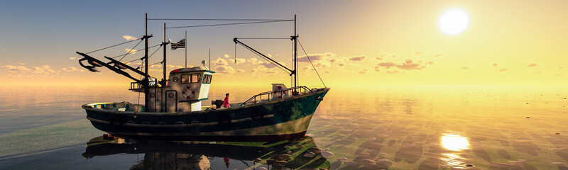 Poster Peche fishing boat in the sea