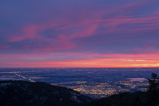 Landscape from Flagstaff Mountain at dawn of the city of Boulder, Colorado, USA