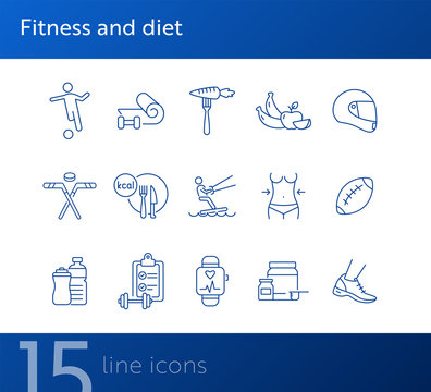 Fitness and diet line icon set