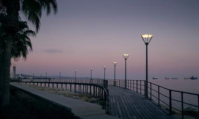 Pier in Limassol city at night, Cyprus