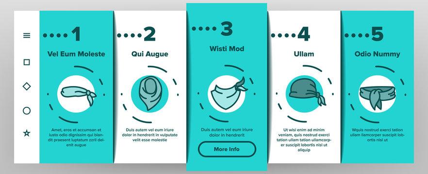 Bandana Hats Onboarding Mobile App Page Screen Vector