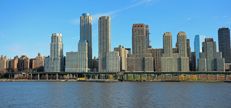 Panorama view of the West Side of Manhattan with blue clear sky