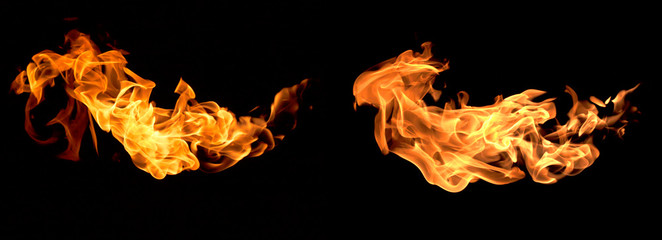 Deurstickers Vuur Red flame isolated on a black background