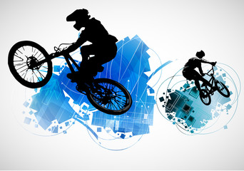 Active people. BMX rider in abstract sport landscape background, vector. Wall mural