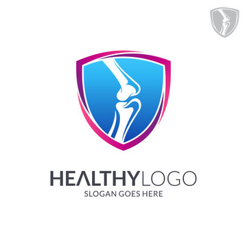 Bone shield logo. Healthy bone Icon. Knee bones and joints care protection logo template. Medical flat logo design. Vector of human body health. Emblem/badge symbol