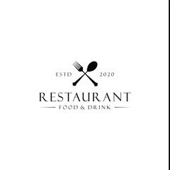 spoon and fork restaurant logo vector