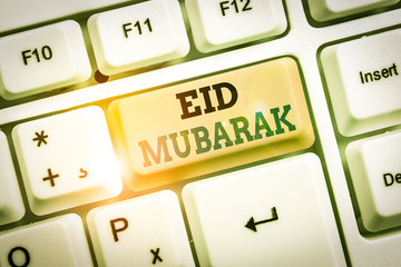 Text sign showing Eid Mubarak. Business photo showcasing traditional Muslim greeting reserved for the holy festivals