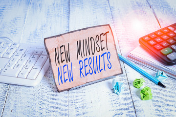 Writing note showing New Mindset New Results. Business concept for obstacles are opportunities to reach achievement Notepaper on wire in between computer keyboard and sheets