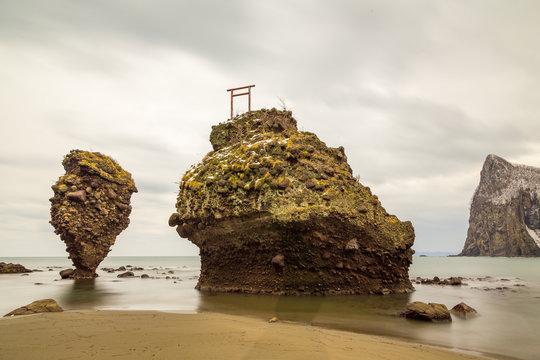 Ebisu Iwa sea stacks in Hokkaido