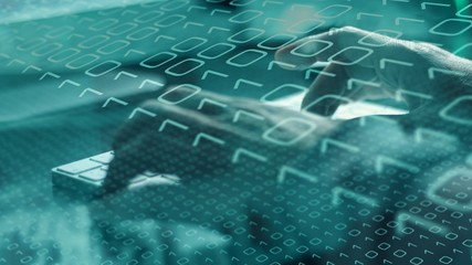 Computer spy man, digital chaos and cyber terrorism concept - fototapety na wymiar