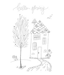 hello spring vector illustration in line art. linear art drawing of a house, tree, flowers and lettering. black and white outline vector ink hand drawn poster. simple easter spring kids greeting card.