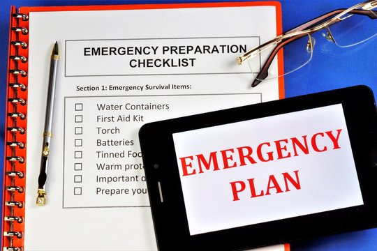 Emergency preparedness checklist.Emergency survival items.Water containers,first aid kit, torch, batteries, canned food, warm protective clothing, important documents and items, action plan.