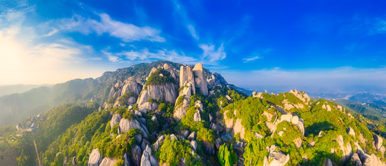 In de dag Donkerblauw Aerial view of taimu mountain in ningde city, fujian province, China