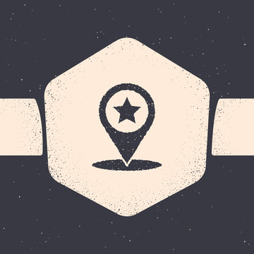 Grunge Map pointer with star icon isolated on grey background. Star favorite pin map icon. Map markers. Monochrome vintage drawing. Vector Illustration