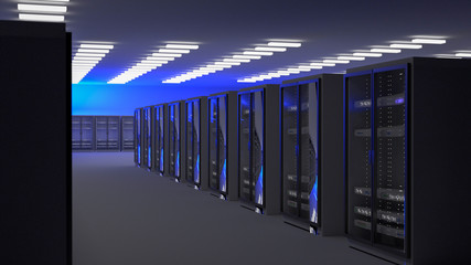 Fotoväggar - Server room data center. Backup, mining, hosting, mainframe, farm and computer rack with storage information. 3d render