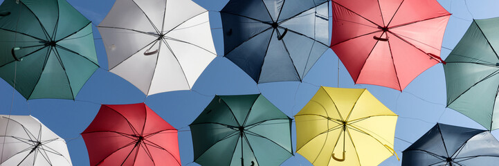 Panoramic image from colorful umbrellas in Quebec City. Canada
