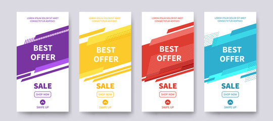 Best Offer sale banners for social media stories, web page, promotion for mobile