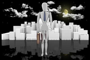 Leader. Manager con sullo sfondo la città, il cielo con la luna e nuvole..