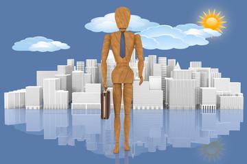 Leader. Manager con sullo sfondo la città, il cielo con sole e nuvole..