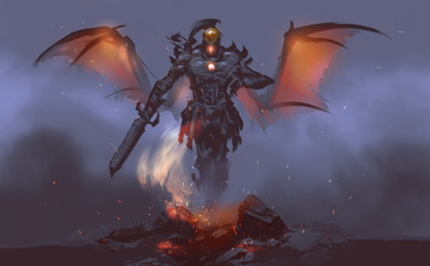 Digital illustration painting design style a god of fire summoning from lava against mist.