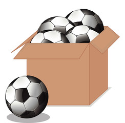 Box full of soccer balls on white background