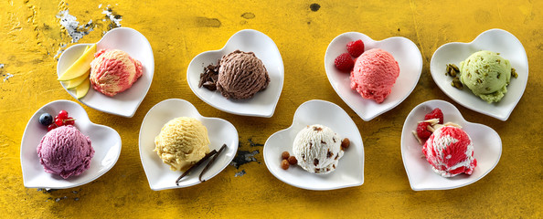 Heart-shaped dishes with assorted ice-creams