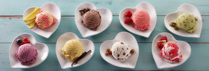 Scoops of different ice cream flavors in bowls