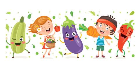 Deurstickers Feeën en elfen Fresh Vegetables For Healthy Eating