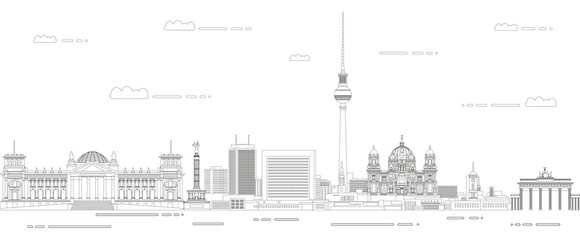 Fototapete - Berlin cityscape line art style vector illustration. Detailed skyline poster