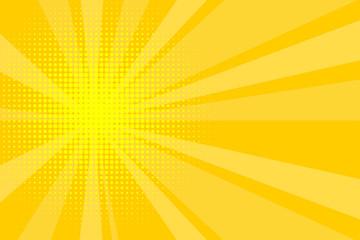 Comic yellow sunbeam background retro pop art style cartoon - fototapety na wymiar