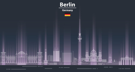 Fototapete - Berlin cityscape at night line art style vector illustration. Detailed skyline poster