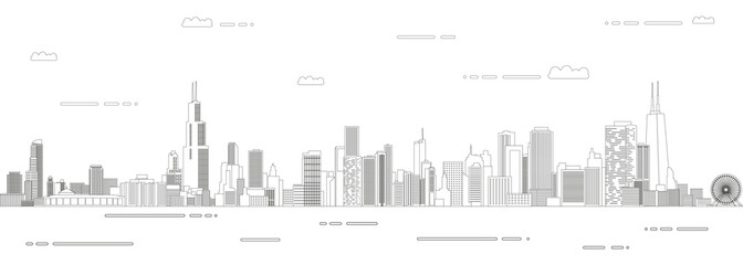 Fototapete - Chicago cityscape line art style vector poster illustration. Travel background