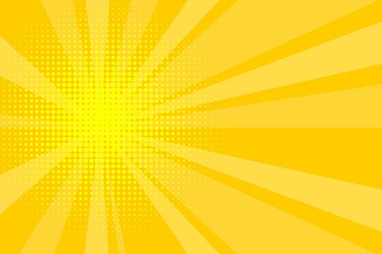 Comic yellow sunbeam background retro pop art style cartoon