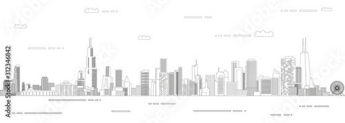 Fototapete Chicago cityscape line art style vector poster illustration. Travel background