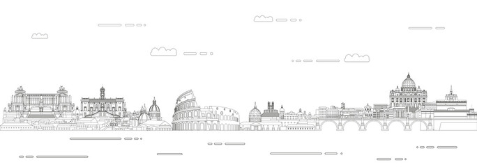 Fototapete - Rome cityscape line art style vector illustration. Detailed skyline poster