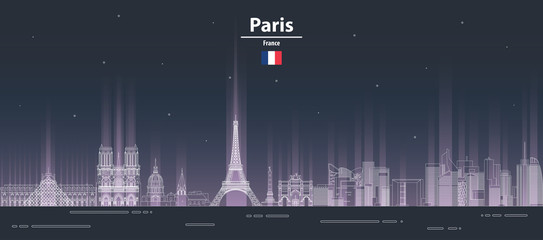 Fototapete - Paris cityscape at night line art style vector illustration. Detailed skyline poster