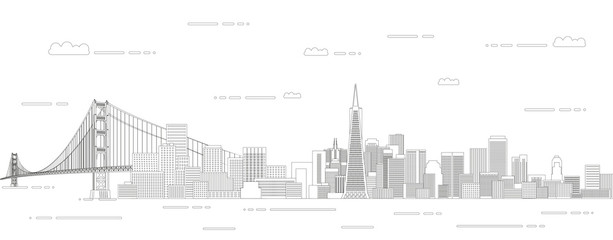 Fototapete - San Francisco cityscape line art style vector illustration. Detailed skyline poster