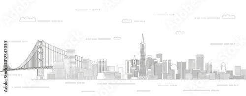Fototapete San Francisco cityscape line art style vector illustration. Detailed skyline poster