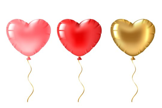 Heart balloon. Cute gold, pink and red heart shaped balloons decor, valentines day design element for romantic greeting card 3d vector set