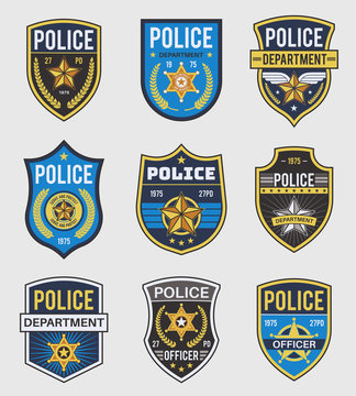 Police badges. Officer government badge, special police security medallion and federal agent signs, policeman insignia vector set