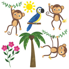 Monkey watercolor illustration set animals parrot bird tropics sun liana flowers palm