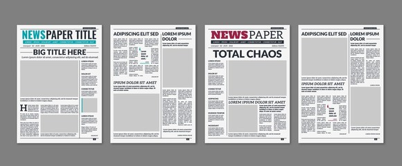 Newspaper column. Printed sheet of news paper with article text and headline publication design vector press templates