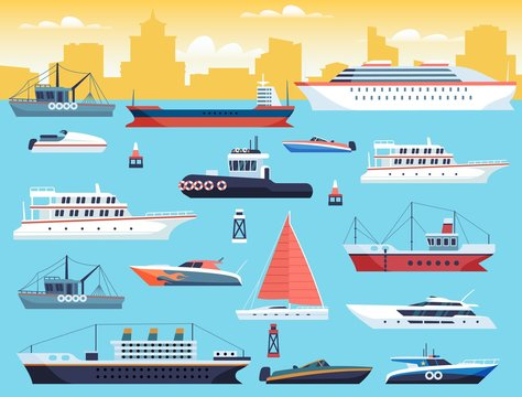 Maritime transport. Shipping dock with big sea or ocean vessel and sail boat, yacht and travel motor cruiser vector set