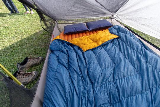Sleeping gear inside tent