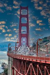 Wall Mural - Traffic on Golden Gate Bridge in San Francisco