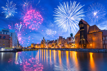 Türaufkleber Dunkelblau Fireworks display over the old town in Gdansk, Poland