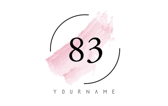 Number 83 Watercolor Stroke Logo Design with Circular Brush Pattern.