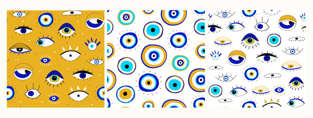 Wall Mural - Set of three seamless patterns. Evil eyes. Hand drawn various talismans. Different shapes. Flat design. Free hand drawing style. Contemporary modern trendy vector illustrations.